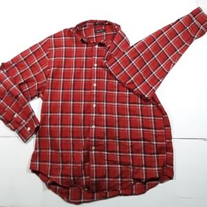 Nautica red white and blue checkered button down
